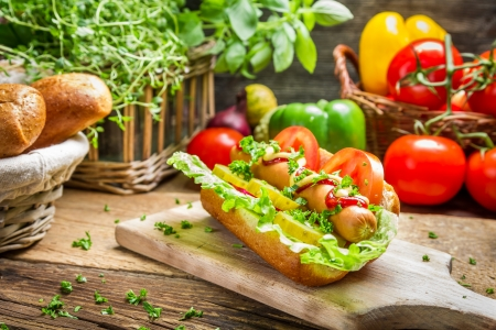 Homemade hot dog with fresh ingredients