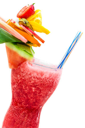 Refreshing summer drink with strawberries photo