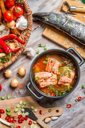 Closeup of fresh ingredients for fish soup photo