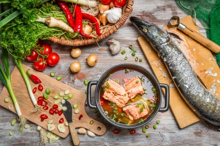 Pike and fresh vegetables for fish  soup photo