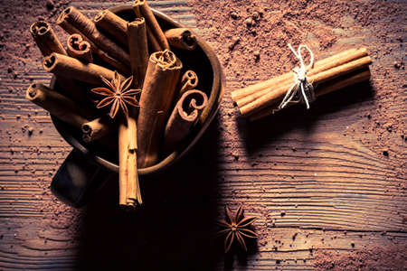 'cinnamon bark': Cinnamon bark in brown old cup