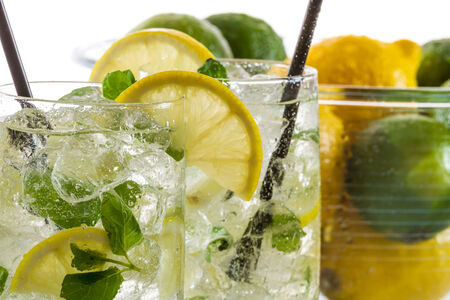 Closeup of cold lemon drink for summer Stock Photo