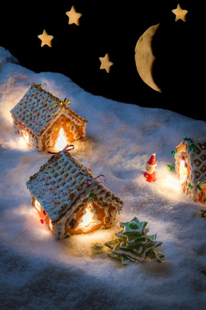 Christmas eve in the honey-cacke village Archivio Fotografico