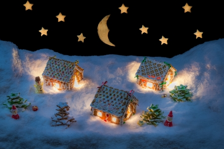 Christmas eve in the gingerbread village Archivio Fotografico