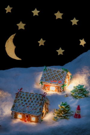 Gingerbread cottage in winter with stars