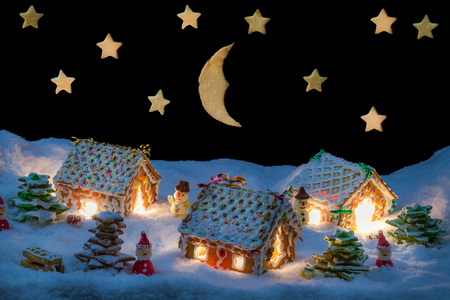 Gingerbread home at the night in winter