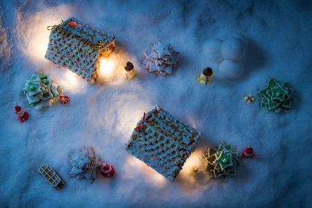 Gingerbread home at night in winter Archivio Fotografico