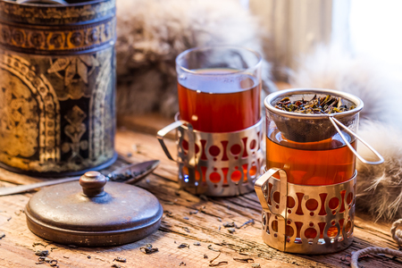 Hot tea brewed in the old style photo
