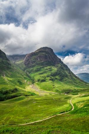 highland region: Beautiful footpath in the Scotland highlands in summer