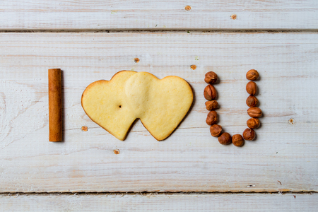 i love you: I love you sentence arranged with cookies