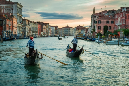 gondola: Sunset over the Grand Canal in Venice Stock Photo
