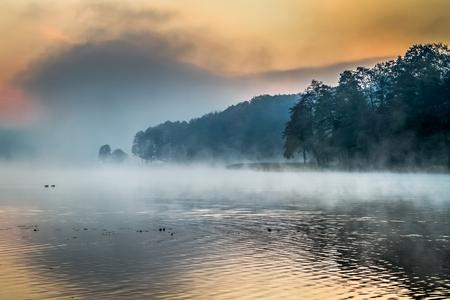 Lake with the fog at sunrise photo
