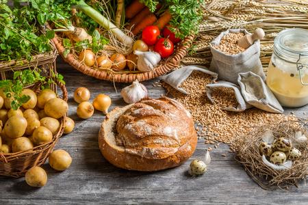 potato basket: Fresh ingredients for rustic sour soup