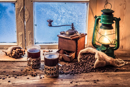 Enjoy your hot coffee in cold day photo