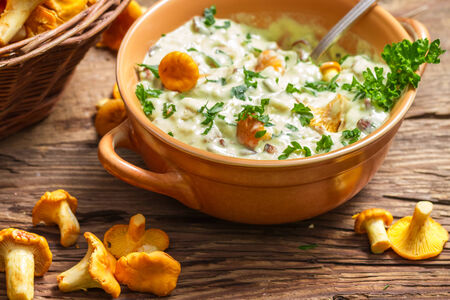 Fresh mushroom with cream and parsley are in the forest photo
