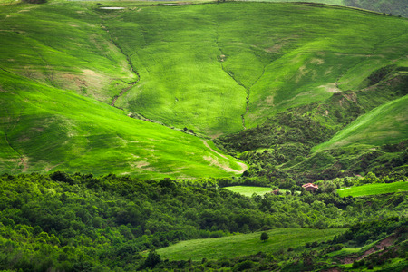 Green valley between the hills in Tuscany photo