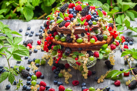 Cake wild fresh berry fruits photo