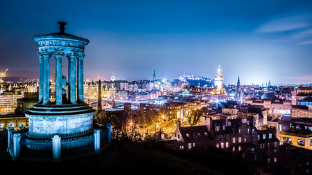 Edinburgh at night view from Calton Hill photo