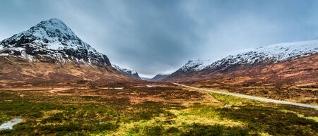 typically scottish: Beautiful view of the mountain pass in Scotland Stock Photo