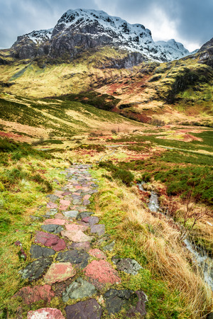typically scottish: Mountain footpath in Glencoe, Scotland