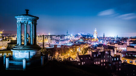 Night view from Calton Hill to Edinburgh photo