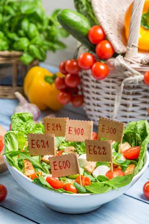 preservatives: Unhealthy Vegetable salad with preservatives