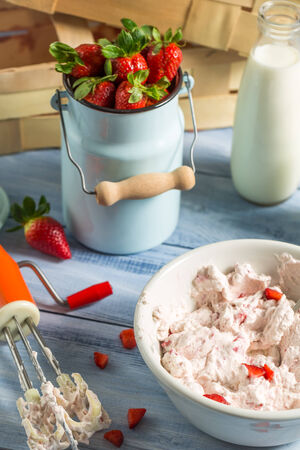 Ice cream made with mixed yogurt and strawberries photo