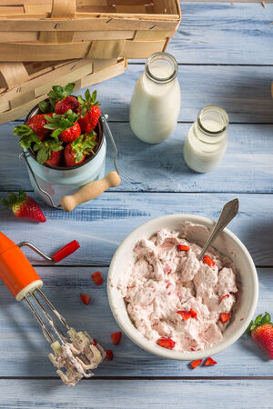 Homemade ice cream made with strawberry and yogurt photo