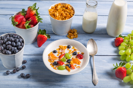 preservatives: Ingredients for a healthy and tasty breakfast Stock Photo