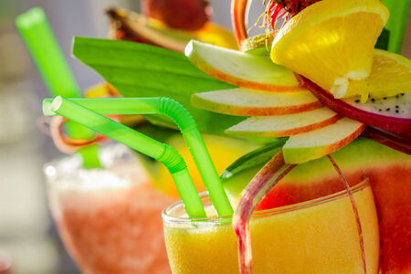 Closeup of summer drink with watermelon photo