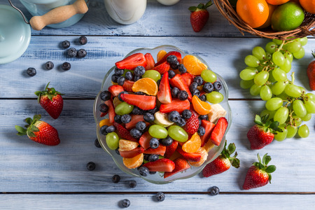 Healthy salad made of fresh fruits photo