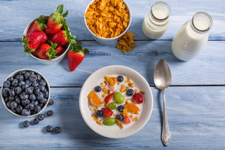 preservatives: Ingredients for a healthy and nutritious breakfast Stock Photo