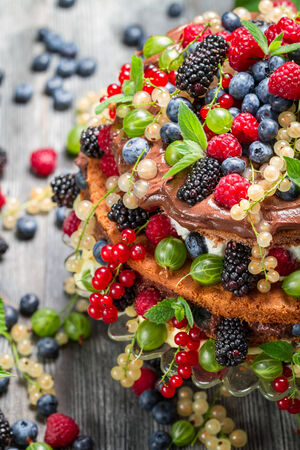 Cake made of wild fresh berry fruits photo