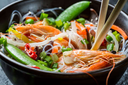 Closeup of Chinese mix vegetables with shrimp photo