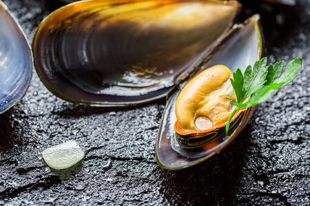 Closeup of mussels with garlic and parsley photo