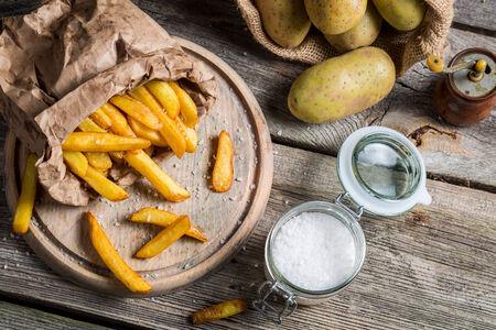 Homemade fries made of fresh potato