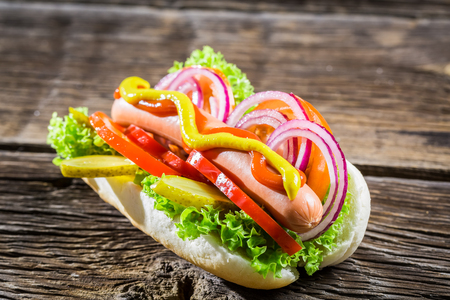 hotdog sandwiches: Homemade hot dog with a lot of vegetables