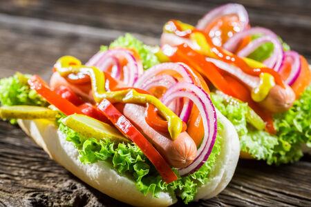 Two fresh homemade hot dog photo