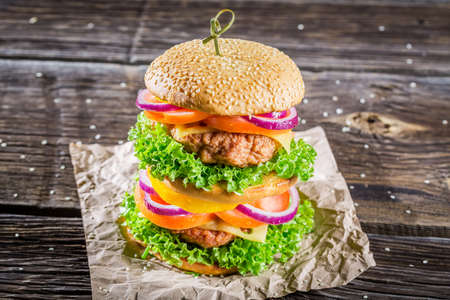 doubledecker: Closeup of homemade double-decker burger