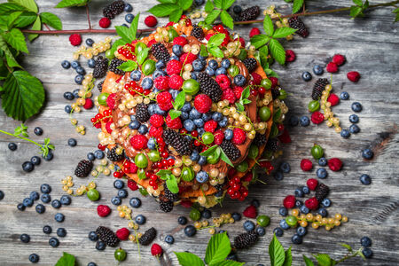 Cake made of fresh wild fruit photo