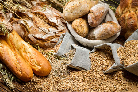 Various types of bread in a baker pantry photo
