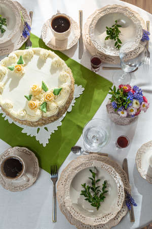 festively: Festively decorated table for a celebration Stock Photo
