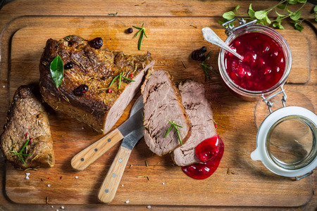 Venison with cranberry sauce in the forester Stock Photo