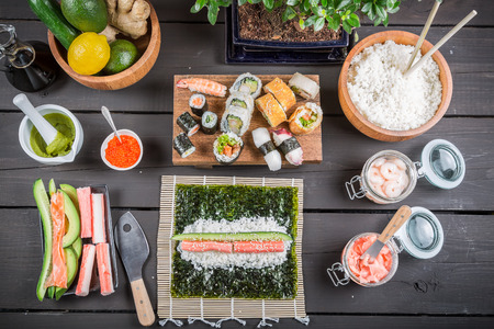 sushi roll: Table with ingredients for sushi