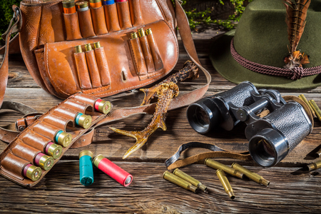 Hunting equipment in a forester lodge photo