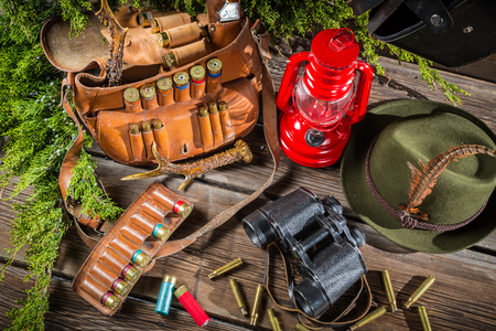 Equipment for hunting in forester lodge photo