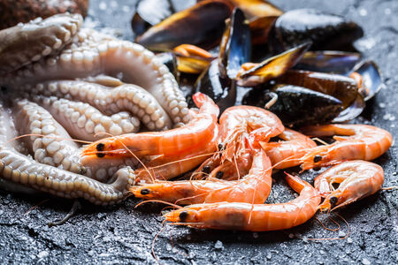 Three kinds of fresh seafood photo