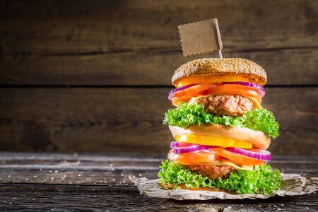 doubledecker: Homemade double-decker burger Stock Photo