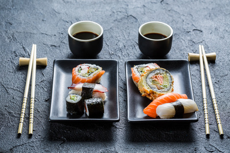 Sushi dinner for two people photo
