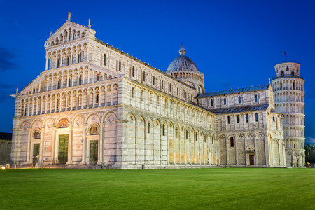 Ancient cathedral in Pisa at night photo